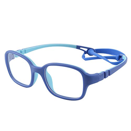 Kids Glasses Frame Unbreakable Smart Looks Cute Blue Eyewear Frame with Clear Square Lens for Boys Girls(Age 2-5)]()