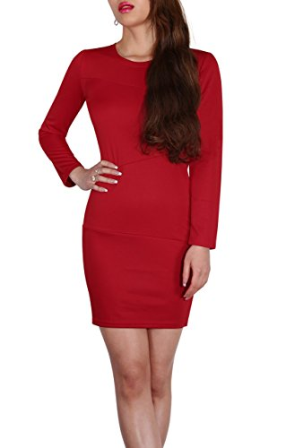 SodaCoda Women's Smart Office Evening Short Dress with Long Sleeve (Red, S) for $<!--$10.99-->