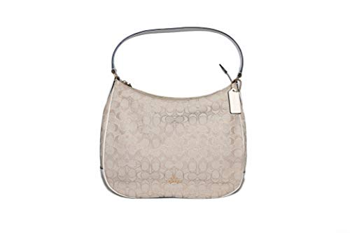 Coach ZIP SHOULDER BAG IN SIGNATURE JACQUARD, Light Khaki/Chalk/Imitation Gold, NS