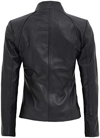 Fjackets Black Leather Jacket for Women – Quilted Brown Lambskin Slim Fit Woman Leather Jacket