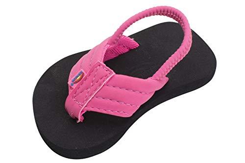 Rainbow Sandals Kid's Grombow's Soft Top Rubber w/Neoprene Strap, Pink/Black, Toddler 3-4 B(M) US