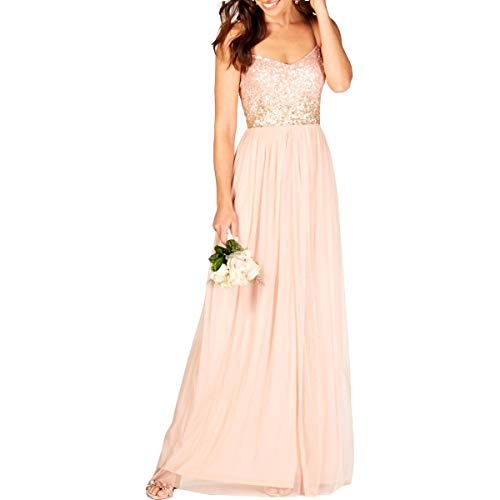 (Adrianna Papell Womens Sequined Party Evening Dress Pink 6)