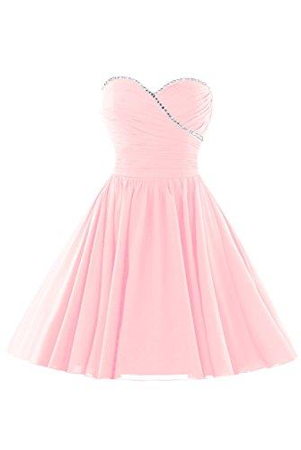 Women's Homecoming Sweet Chiffon Pink Beaded Dress Party Skirt Short Dasior 16 RUqdR