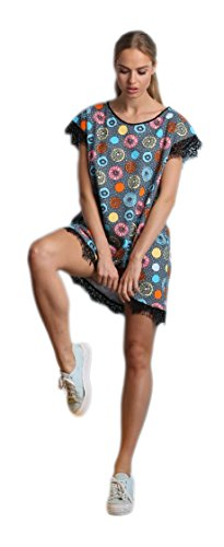 PIGEON Lingerie süßes und niedliches Baumwoll-Nachthemd Sleepshirt mit zarter Spitzenverzierung, grau/mehrfarbig, Gr. XL