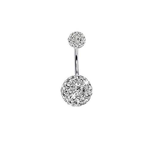 Navel Belly Button Ring Barbell Rhinestone Crystal Ball Piercing Body Jewelry | Colors - white ()