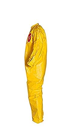 Pack of 12 DuPont Tychem 2000 QC125B Disposable Chemical Resistant Coverall with Elastic Cuff and Bound Seams Large Yellow