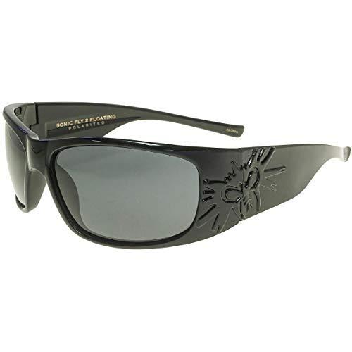 Black Flys Sonic 2 Floating Polarized Shield Sunglasses, Shiny, 65 mm