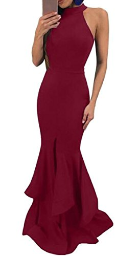 Womens Jaycargogo Wine Sleeveless Prom Neck Halter Bodycon Ruffle Red Sexy Dress Elegant Maxi 61qwg1d