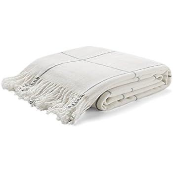 Arus Highlands Collection Tartan Plaid Design Throw Blanket Off-White 60