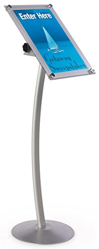 Adjustable Sign Frame With Slightly Curved Pedestal Base, 14 x 51-1/2 x 14-Inch, Free-Standing, Silver Finish Aluminum, Single-Sided - Freestanding Pedestal Sign