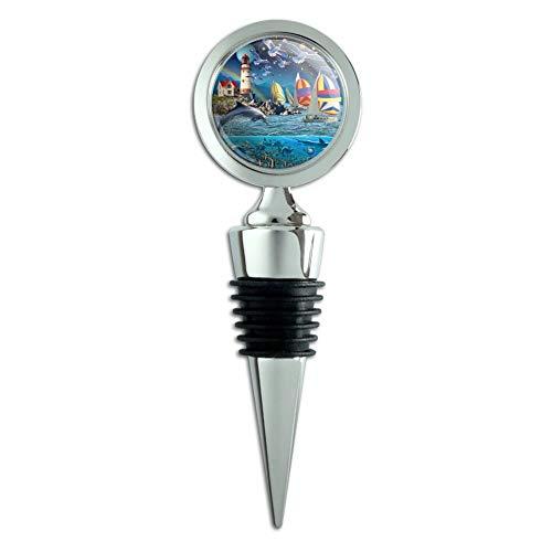 (Ocean Shore Lighthouse Beach Slice of Life Wine Bottle Stopper)