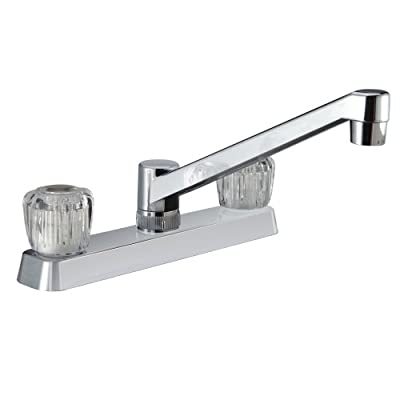 Dura Faucet DF-PK600A-CP Two Handle Rv Kitchen Faucet W/Crystal Acrylic Knobs - Chrome Polished