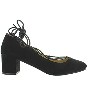 Wanted Shoes Women's Abby Lace Up Ankle Tie Chunky Heel Pump, Black, 9 US