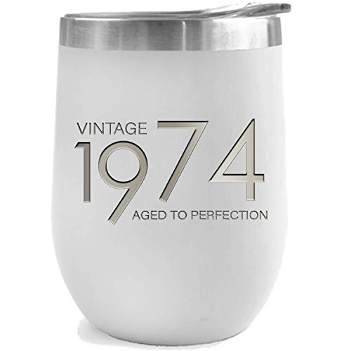 1974 45th Birthday Gifts for Women and Men White 12 oz Insulated Stainless Steel Tumbler | 45 Year Old Presents | Mom Dad Wife Husband Present | Party Decorations Supplies Anniversary Tumblers Gift th
