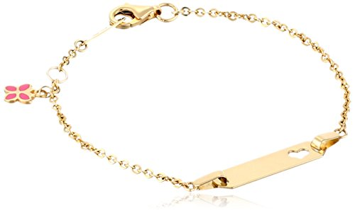 14k Yellow Gold Butterfly Charm Heart Baby ID Rolo Bracelet, 6'' by Amazon Collection