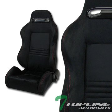 Topline Autopart T-R Sport Black Suede Red Stitches Reclinable Racing Bucket Seats+Sliders Pair T01 ()