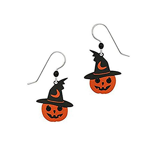 Sienna Sky Artisan Halloween Pumpkin w/Witch Hat and Rhinestone Eyes Earrings with Gift -