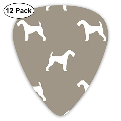 Airedale Terrier Silhouette Dog Medium Brown Classic Celluloid Picks, 12-Pack, For Electric Guitar, Acoustic Guitar, Mandolin, And Bass