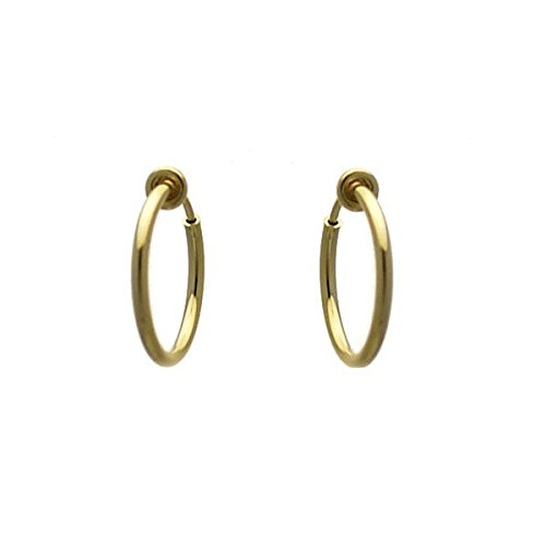 Cerceau 17mm Gold Plated Hoop Clip On Earrings AJ Fashion Jewellery AJFJ5828