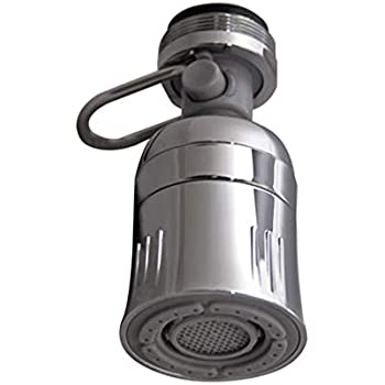 PF WaterWorks PF0548 TouchFLOW Swivel Spray Premium Kitchen Aerator with Pause (Trickle) Lever-Water Sense Listed-Dual Thread (15/16-27 Male x 55/64-27 Female) -1.5 GPM, Chrome