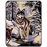 Snow Wolf Medium Weight Faux Fur Blanket