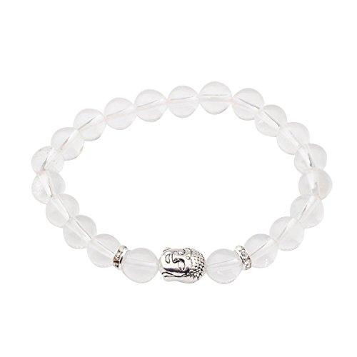 Thai Silver Gemstone Bracelet - Joya Gift Unisex Crystal With 8MM Silver Buddha Yoga Beads Bracelet
