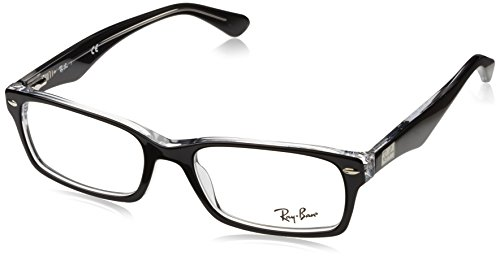 Ray-Ban RX5206 Rectangular Eyeglass Frames, Black On Transparent/Demo Lens, 54 mm