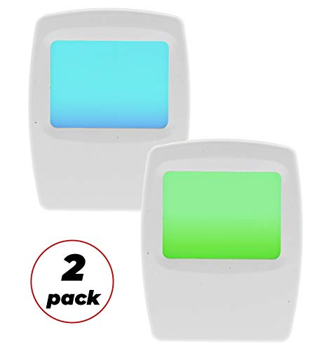 Amerelle Always On Green and Blue Night Light, 2 Pack - Plug-In Forever-Glo LED Night Light - Includes 1 Blue Light and 1 Green Light - An Ideal Bathroom Night Light or Nursery Night Light