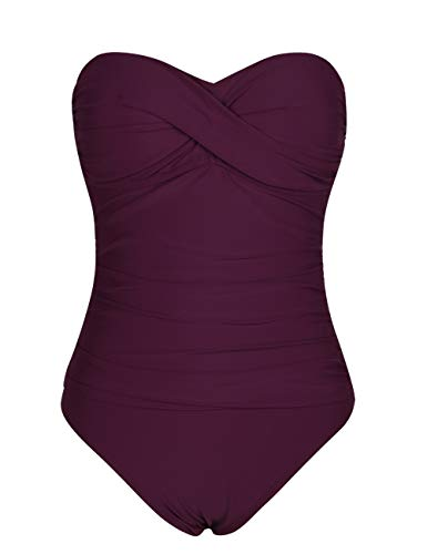 - Hilor Women's Bandeau One Piece Swimsuits Front Twist Swimwear Ruched Bathing Suits Tummy Control Burgundy 8