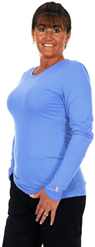 Women's Long Sleeve Layering Under Scrub T-Shirt in 8 Great Colors (MEDIUM, CEIL BLUE)