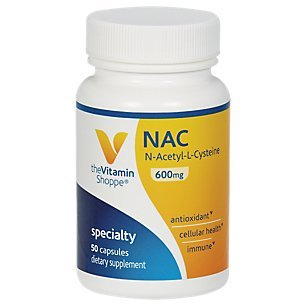 NAC NAcetylLCysteine 600mg Provides Antioxidant Support, Cellular Health Supports Liver Detoxification Once Daily (50 Capsules) by The Vitamin Shoppe For Sale