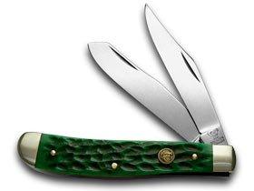 Pickbone Handle - Hen and Rooster Green Pickbone Trapper Pocket Knife Knives