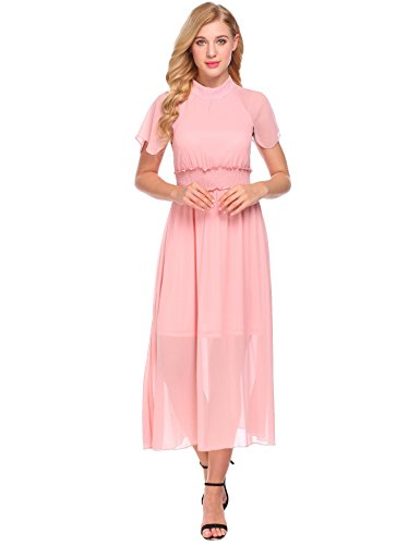 Belt Dress Women's Vintage Pleated Pink Loose A with Halter Chiffon line ACEVOG wHvxfUwq