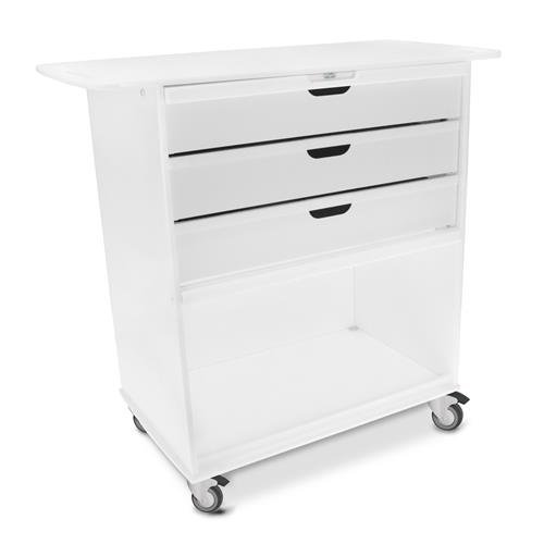 "TrippNT 53171 Polyethylene Extra Wide Storage Cart with Blue Acrylic Door, 36"" Width x 35"" Height x 18"" Depth, White"