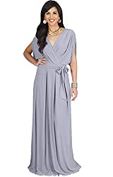 Koh Koh Petite Womens Long Semi Formal Short Sleeve V Neck Full Floor Length V Neck Flowy Cocktail Wedding Guest Party Bridesmaid Maxi Dress Dresses Gown Gowns Gray Grey Xs 2 4