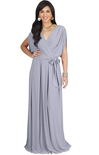 - KOH KOH Plus Size Womens Long Formal Short Sleeve Cocktail Flowy V-Neck Casual Bridesmaid Wedding Party Guest Evening Cute Maternity Work Gown Gowns Maxi Dress Dresses, Gray/Grey 3XL 22-24