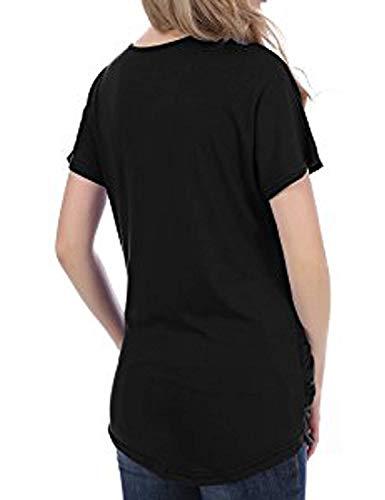 lgant T Slim Et Shirt Mode Courtes Confortable Cou Irrgulier Shirts Top V Manches Schwarz Manche Classique Femme Fit Branch Shirts T Plier lastique Uni Fille pFwxFr5Xqa