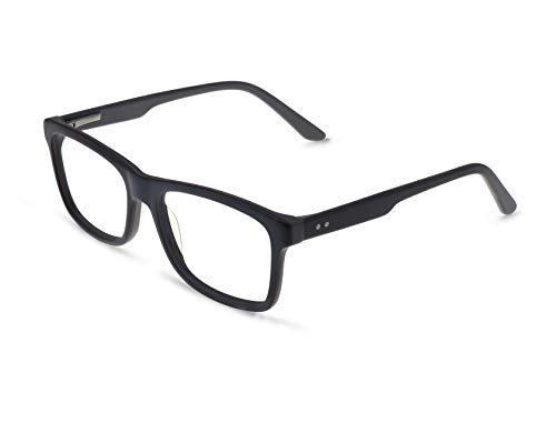 (OCCI CHIARI Mens' Rectangle Stylish Plastic Eyewear Frame With Clear Lenses)