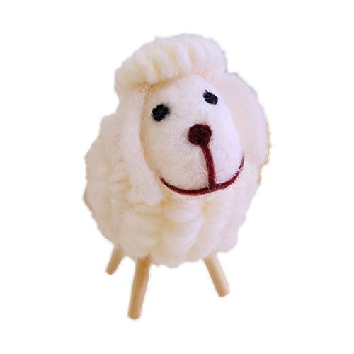 Haayward - 1Pcs Christmas Mini Plush Lamb Sheep Doll, Handmade Cute Ornament Toy, for Christmas Tree Hanging Ornament Xmas Table Decoration Year Gift (Lamb Ornament Hanging)