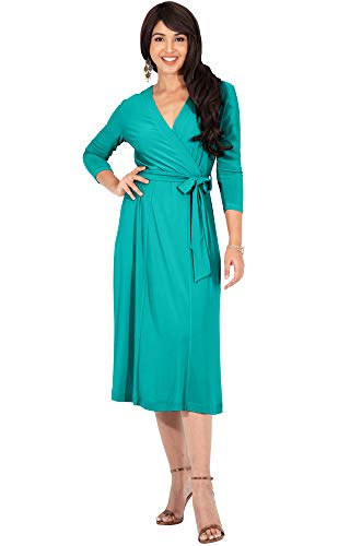 KOH KOH Plus Size Womens V-Neck 3/4 Long Sleeve Flowy Knee Length Fall Bow Wrap Modest Casual Simple Plain Loose Swing A-line Sun Day Work Office Midi Dress Dresses, Turquoise XL 14-16