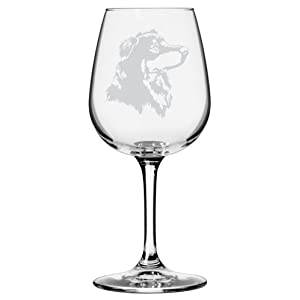 English Shepherd Dog Themed Etched All Purpose 12.75oz Libbey Wine Glass 6