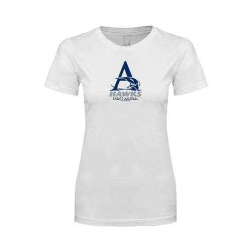 Saint Anselm Next Level Ladies SoftStyle Junior Fitted White Tee 'A Hawks'