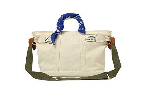 Canvas Tote Bag Crossbody Bag Shoulder Bag Handbag With Shoulder Strap For Men & Women Includes A Bag Scarf (Beige)