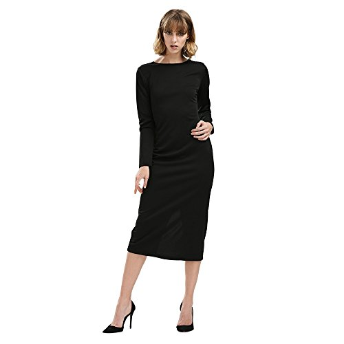KCatsy Simple Round Collar Long Sleeve Zipper Design Skinny Women Midi Dress Black ()