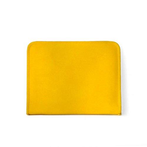Pratesi Unisex Personalized Custom Initials Embossing Italian Leather Dante R Executive Zip Around Portfolio Notepad Holder in Yellow by Pratesi (Image #2)