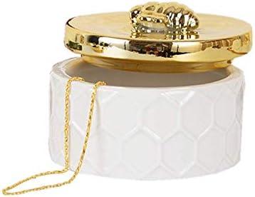Yarr Store Tanque de Almacenamiento de cerámica para Joyas, Caja de joyería pequeña, Soporte de joyería Simple de Almacenamiento para el Tanque del vestidor Adornos con Tapa de Abeja Dorada, Redondo: Amazon.es: