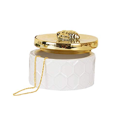 (Ceramics Jewelry Storage Tank, Small Jewelry Box Jewelry Holder Simple Storage Tank Dresser Ornaments with Golden Bee Lid, Round)