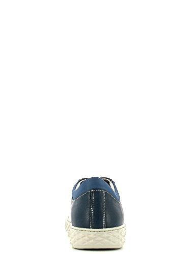 CAF NOIR PF130 blauen Schnürsenkeln Leder Mann Mitte sheakers Blu
