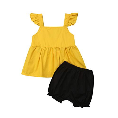 - Toddler Baby Girl Sleeveless Tops Plaid Button Summer Shorts Set Clothes Outfits (Yellow/Black, 6-12M)