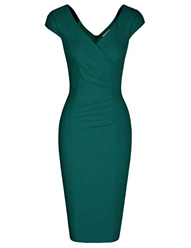 MUXXN 50s Fashin Plus Rockabilly Wiggle Dresses for Women Bridesmaid Dress with Sleeves (Dark Green - Asymmetric Ruched Dress